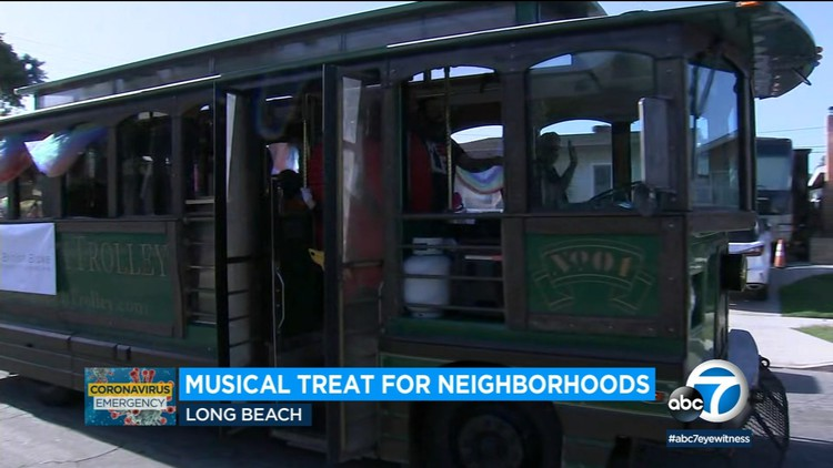 Long Beach trolley brings musical joy to neighborhoods amid coronavirus stay-at-home orders — ABC7 Los Angeles